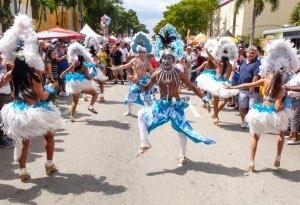Group of carnival dancers at 2014 Miami's Little Havana Calle Ocho Festival.