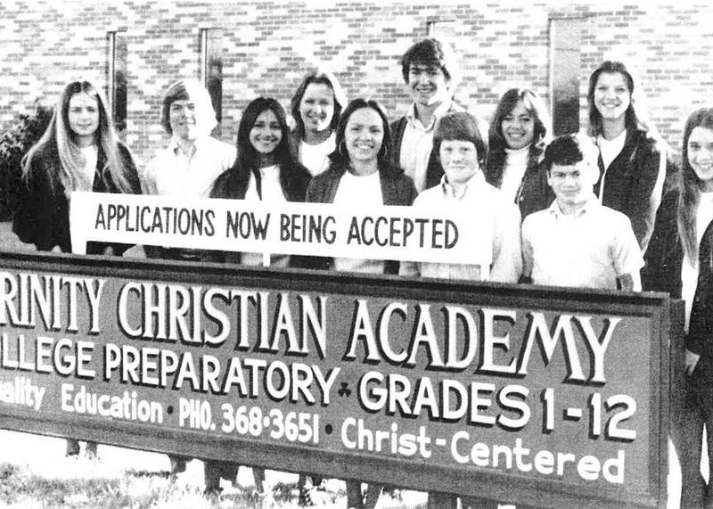 1970s Students With Sign at Grace