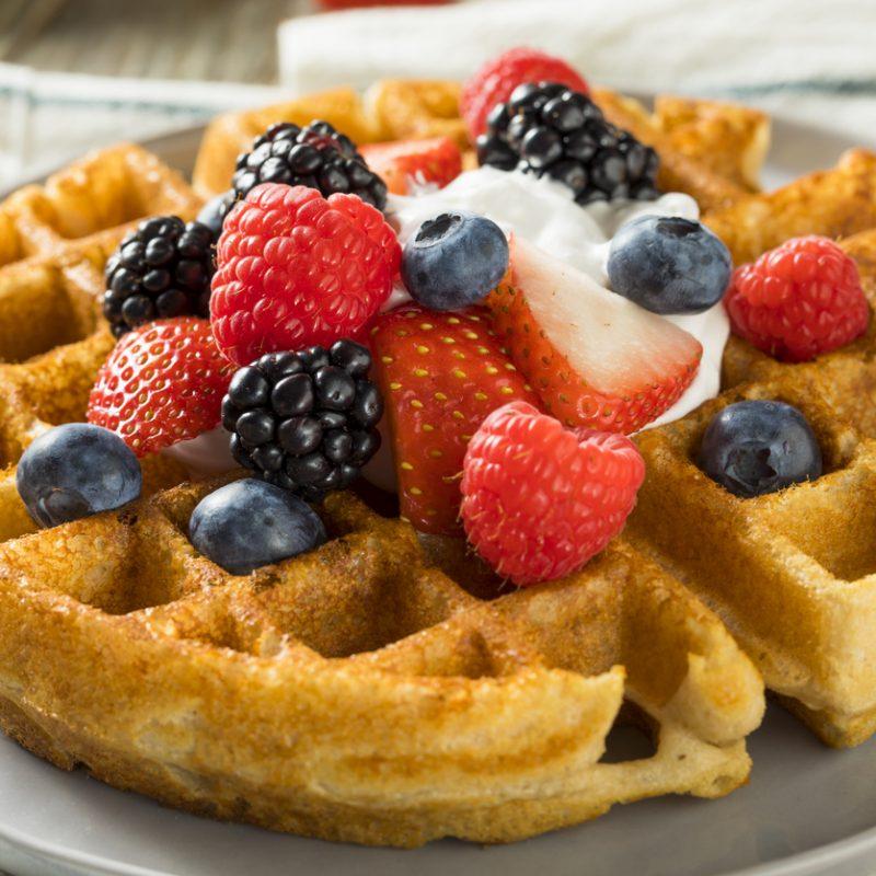 Sweet Homemade Berry Belgian Waffle