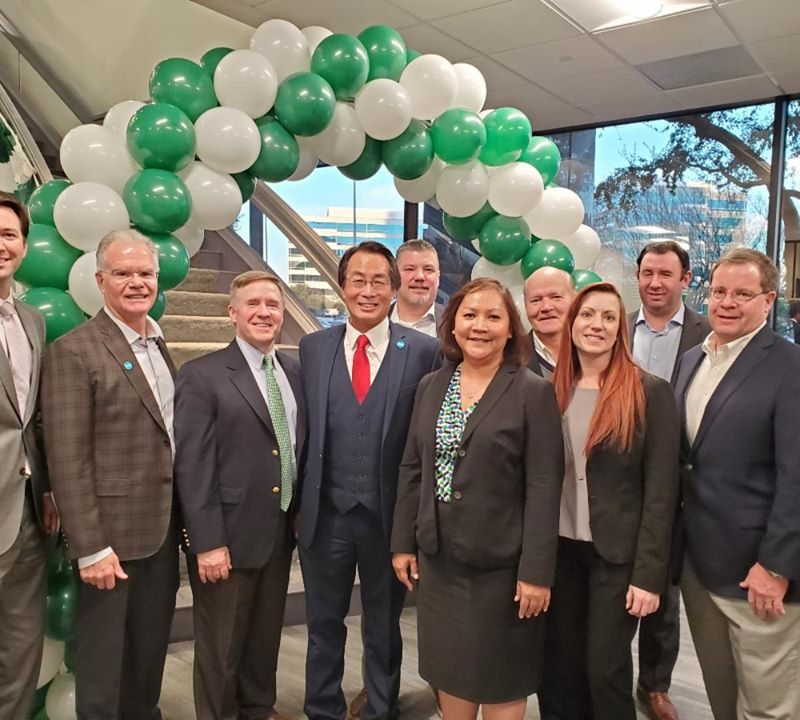Mayor Joe Chow and Council Member Ivan Hughes Joins Penn Mutual Wealth Strategies President Nancy Dinh at a Metrocrest Chamber ribbon-cutting ceremony. Photo credit: Town of Addison.