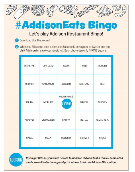 Addison Launches #AddisonEats Bingo Game to Support Local Businesses