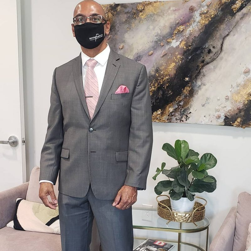 Dr. Naveen Setty wearing pink for Breast Cancer Awareness Month. Credit: Setty Plastics.
