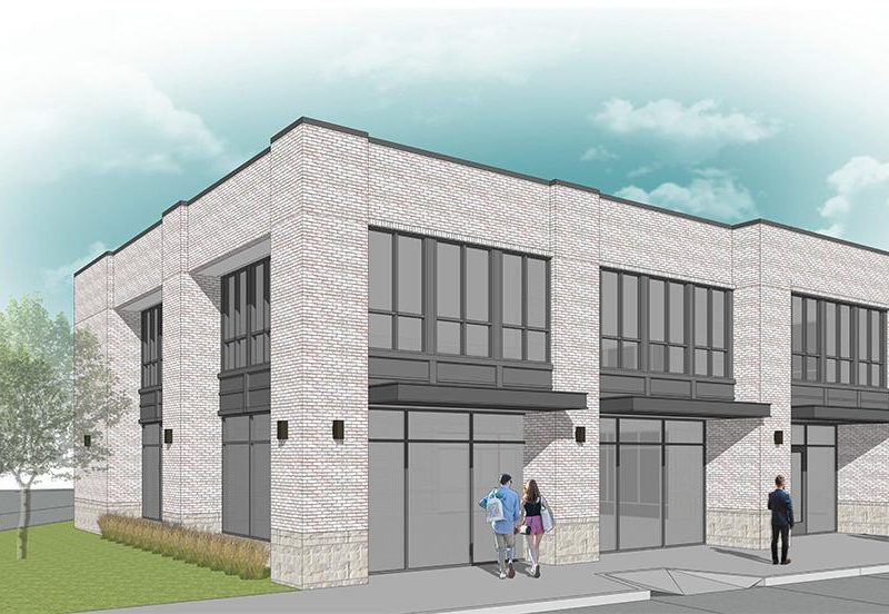 Graphic of proposed two-story office/retail building in Addison Town Center.
