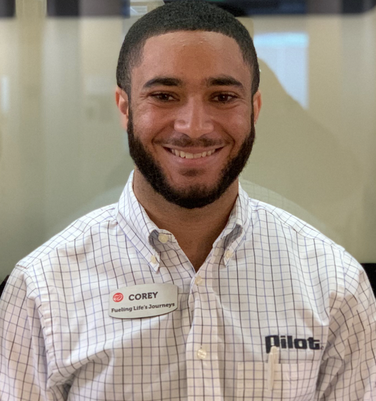 Corey Johnson, a graduate student in Stephen F. Austin State University's Rusche College of Business, is rising through the ranks at Pilot Flying J, one of the nation's largest privately held companies. This photo was taken before COVID-19 pandemic.