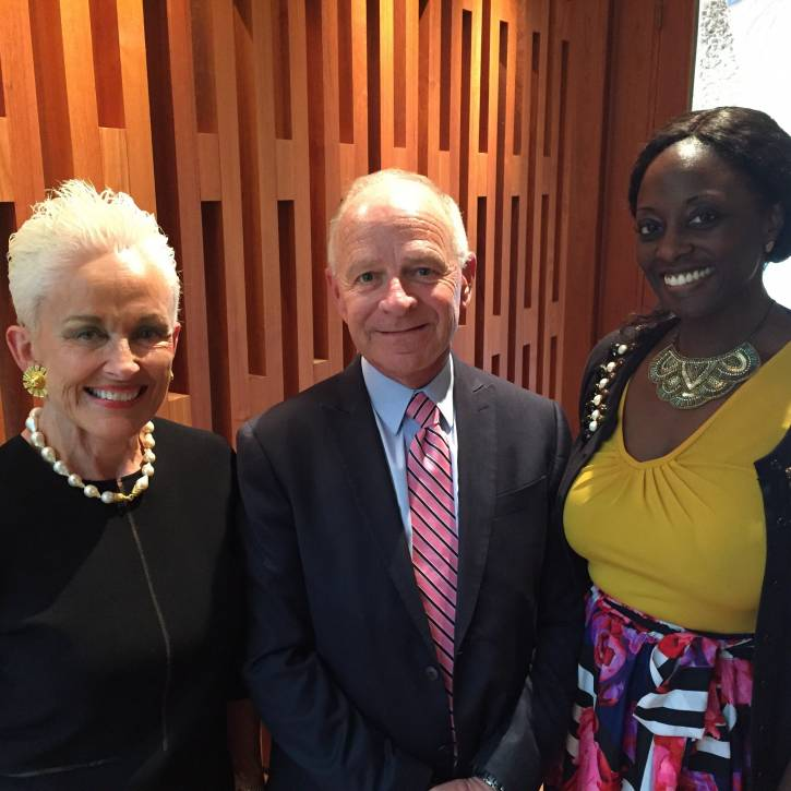 Barbara Daseke, Greg Patterson, and Grace Daniels at WaterTower Theatre's FutureWorks Launch Party.jpg